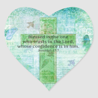 Jeremiah 17:7 Blessed is the man Bible verse cross Heart Sticker