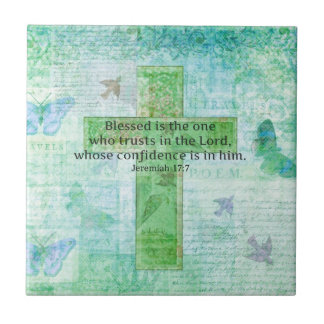 Jeremiah 17:7 Blessed is the man Bible verse cross Tile