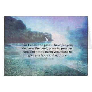 Jeremiah 29:11 Bible Verse Beach ocean waves Card