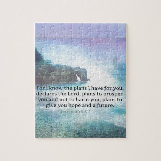 Jeremiah 29:11 Bible Verse Beach ocean waves Jigsaw Puzzle