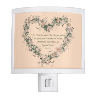 Jeremiah 29:11 Floral Heart Night Light-Peach Night Lite