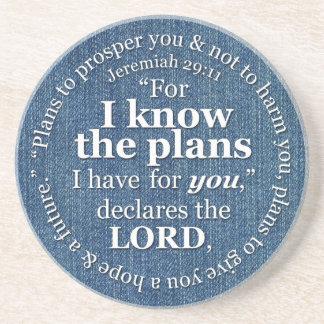 Jeremiah 29:11 I Know the Plans Bible Verse Denim Coaster