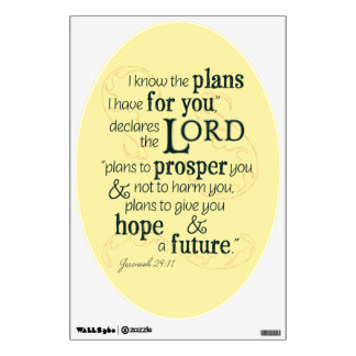 Jeremiah 29:11 I know the plans I have for you... Wall Decal