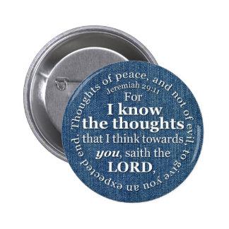 Jeremiah 29:11 KJV Denim Bible Verse Quote 2 Inch Round Button