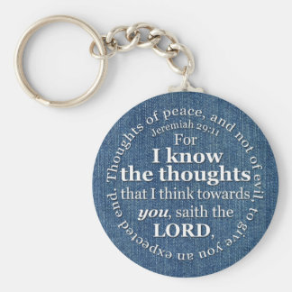 Jeremiah 29:11 KJV Denim Bible Verse Quote Keychain