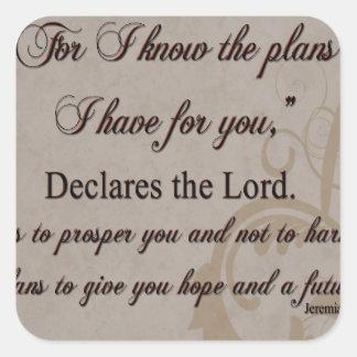 Jeremiah 29:11 Scripture Gift Square Sticker