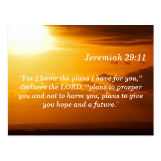 Jeremiah 29 11 Sunset Scripture Memory Card Postcard