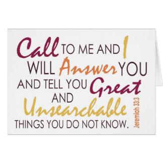 Jeremiah 33:3 Inspiration Card