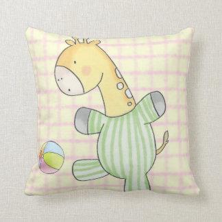 Jeremy Giraffe Plays Ball Throw Pillow