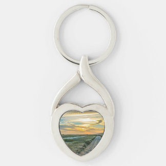 Jericoacoara National Park Dunes Road Silver-Colored Twisted Heart Keychain