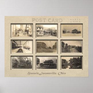 Jeromesville , Ohio Vintage Postcard collage Poster