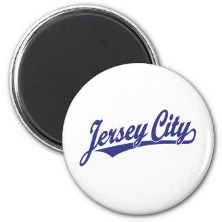 Jersey City script logo in blue Magnet