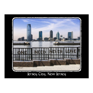 Jersey City Skyline One Need Never Leave border Postcard