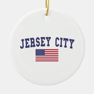 Jersey City US Flag Ceramic Ornament