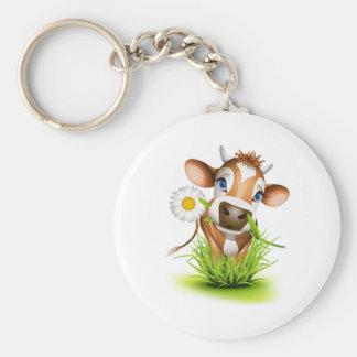 Jersey cow in grass basic round button keychain