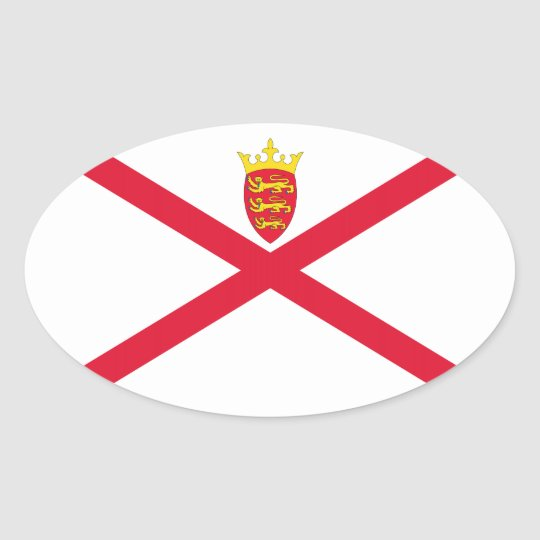 Jersey Flag Oval Sticker