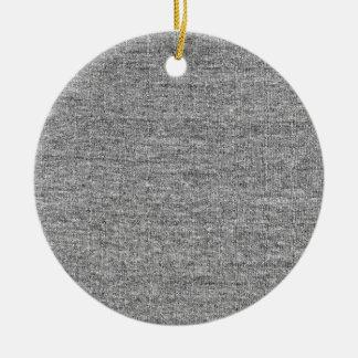 Jersey Grey Cotton Texture Round Ceramic Ornament