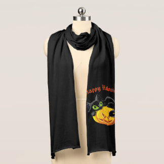 Jersey Knit Scarf-Halloween Cat Scarf