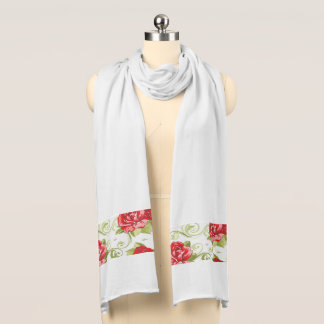 Jersey Knit Scarf-Red Roses Scarf