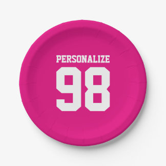Jersey number paper plates for sports birthday