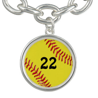 Jersey Number Softball Charm Bracelet