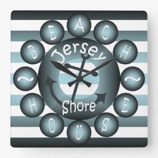 """""""Jersey Shore"""" ~ """"Beach House"""" ~ """"Summer House"""" ~ Square Wall Clock"""