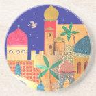Jerusalem City Colourful Art Coaster