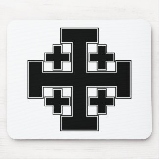 Jerusalem Cross Black Mouse Pad