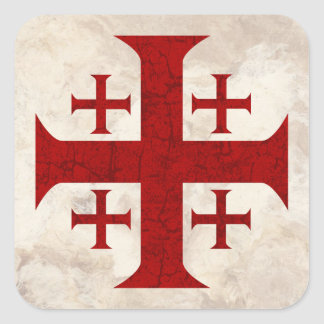 Jerusalem Cross, Distressed Square Sticker