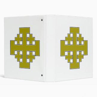 Jerusalem Cross Gold 3 Ring Binders