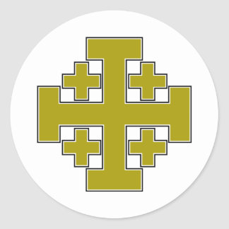 Jerusalem Cross Gold Round Sticker