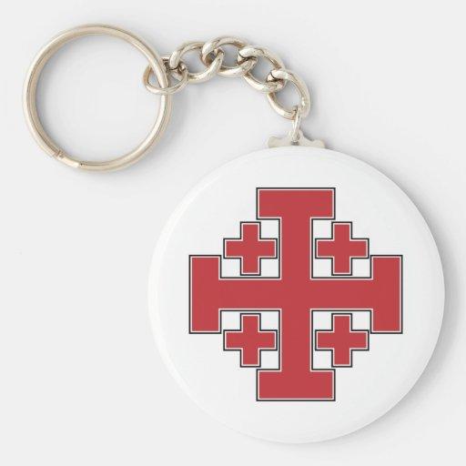 Jerusalem Cross Red Key Chain