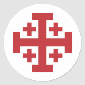 Jerusalem Cross simple red Classic Round Sticker