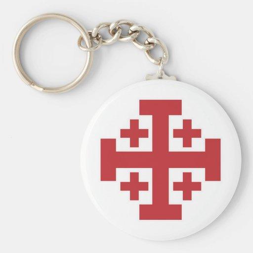 Jerusalem Cross simple red Key Chains