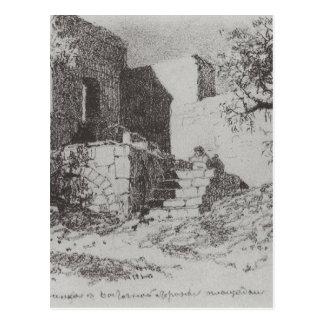 Jerusalem. Ladder to the east side of the track. Postcard
