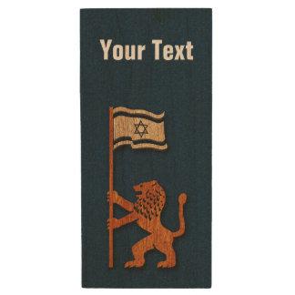 Jerusalem Lion With Flag Wood USB Flash Drive