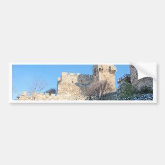 Jerusalem Old City, David Tower under snow Bumper Sticker