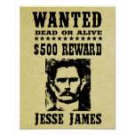 Jesse James Old Wild West Replica Wanted Poster