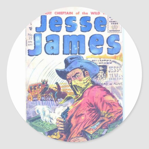 Jesse James Outlaw Round Sticker
