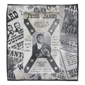 Jesse James Wanted Poster. Bandana