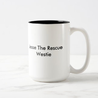 Jesse the Rescue Westie mug. Book cover Two-Tone Coffee Mug