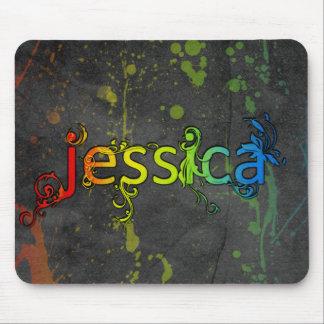 Jessica artsy rainbow name mousepad