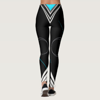 """Jessica"" Black on turquoise #1 Leggings"