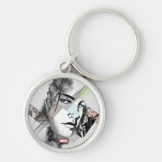 Jessica Jones Face Graphic Silver-Colored Round Keychain