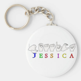 JESSICA NAME SIGN ASL FINGERSPELLED BASIC ROUND BUTTON KEYCHAIN