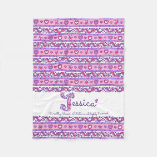 Jessica personalized J name meaning kids blanket