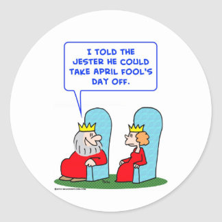 jester april fools day off king classic round sticker
