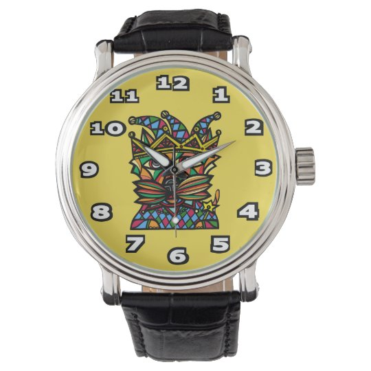 """Jester Kat"" Black Vintage Leather Watch"