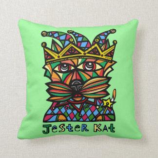 """""""Jester Kat"""" Throw Pillow 16"""" x 16"""""""