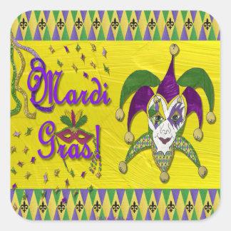 Jester Mask Mardi Gras Harlequin Square Sticker